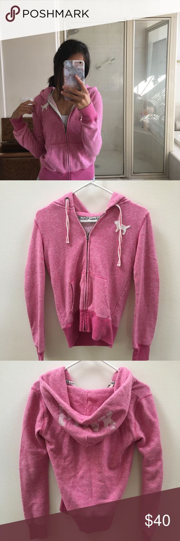 Victoria's Secret PINK Zip Up Hoodie Worn a couple times, pretty good condition! Size XS PINK zip up hoodie. Looks super cute with some denim shorts or jeans, or black leggings. PINK Victoria's Secret Tops Sweatshirts & Hoodies