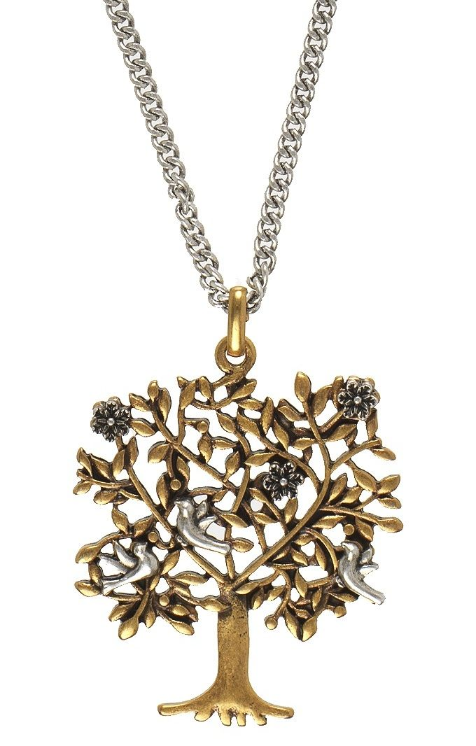 TREE OF LIFE NECKLACE 80cm length featuring gold tree with silver flowers & birds on silver necklace www.visora.com.au