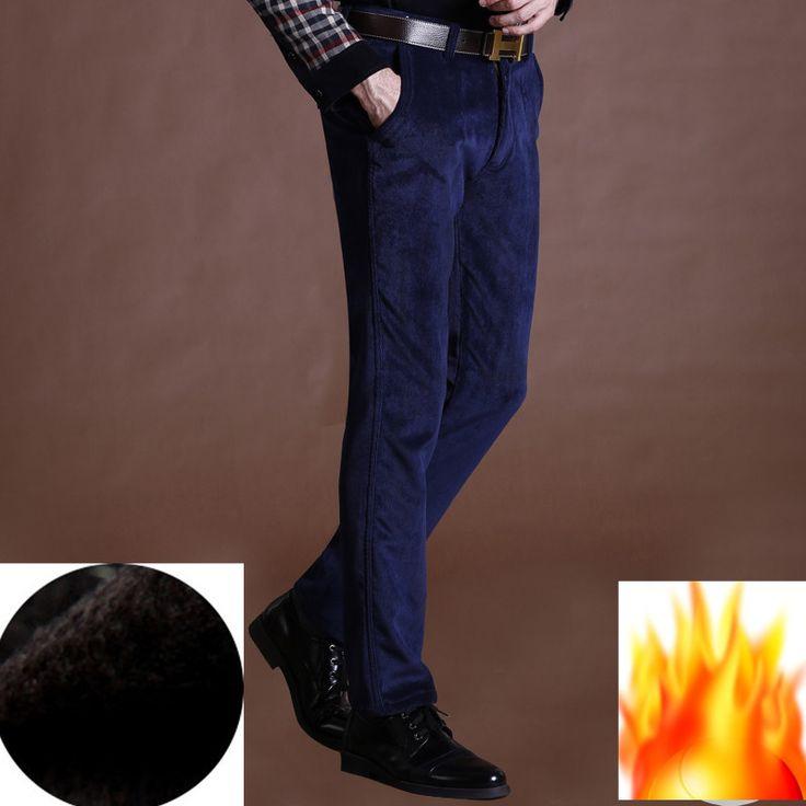 Новый зимние брюки мужчины руно теплый вельвет бегунов свободного покроя бизнес тонкий мужской покрой брюки 10 цвета 29 - 40