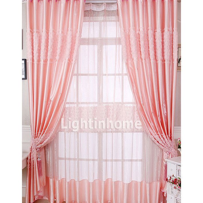 Romantic Dreamy Discount Soundproof Floral Peach Pink Kids Curtains