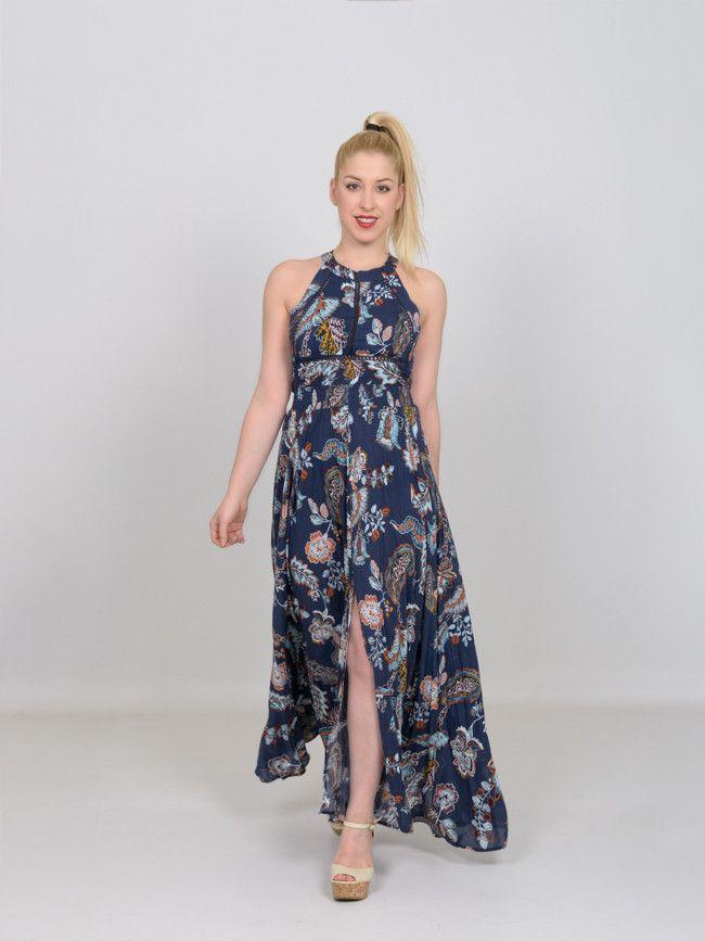 f55cb66f88ca Γυναικείο καλοκαιρινό maxi φόρεμα ZAFUL σε μπλε βάση με πολύχρωμα και  έντονα λουλούδια σε όλο το