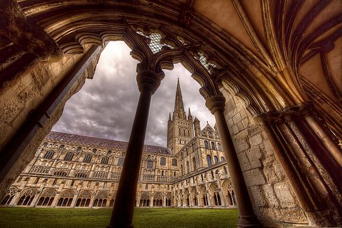 #HDR photograph of The beautiful Norwich Cathedral, shot taken through an arch in one of the cloisters with a 12-24 Super Wide Angle Sigma lens.