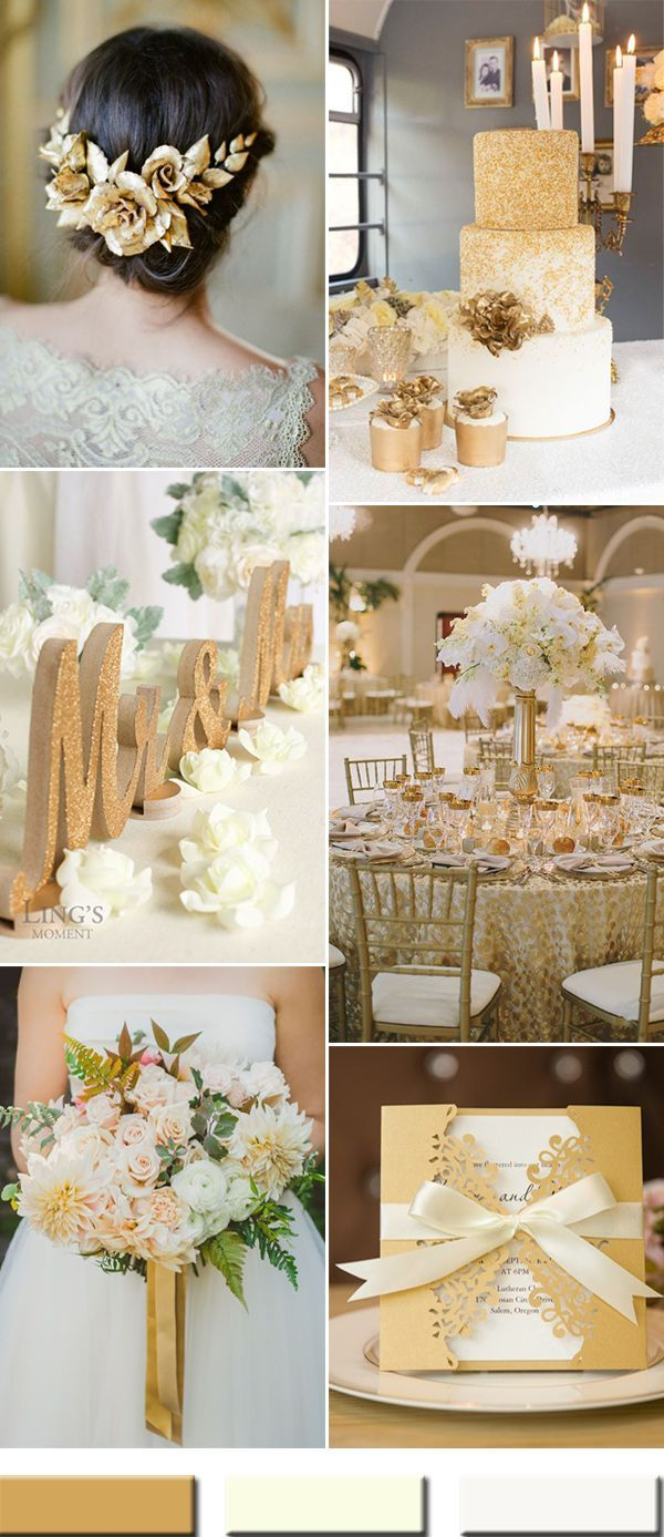 2017 white and gold wedding color combos ideas