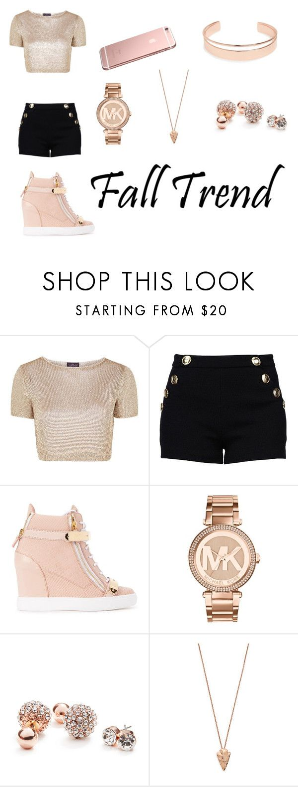 """Fall Trend"" by merissa-balgobind ❤ liked on Polyvore featuring Topshop, Boutique Moschino, Giuseppe Zanotti, Michael Kors, GUESS, Pamela Love, Leith and rosegold"