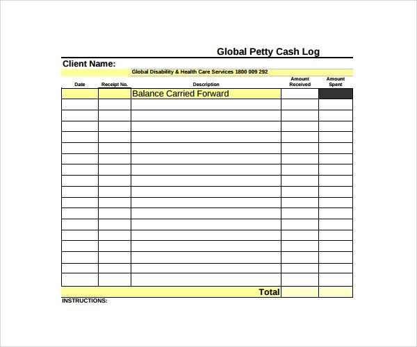 Petty Cash Log Templates 9 Free Printable Word Excel Pdf