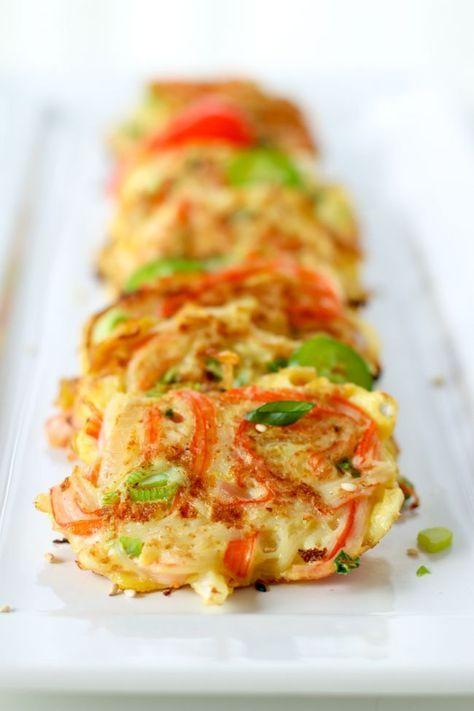 Korean Crab Jeon (Crab Stick Omelettes : 게맛살전) | ChefJulieYoon.com