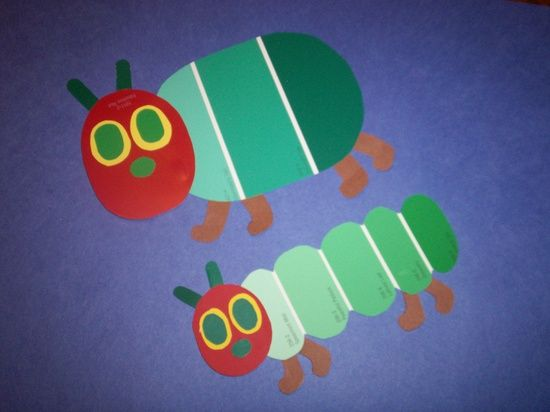 kids crafts with paint chips | Kids Crafts / The Hungry Caterpillar made from paint chip strips.