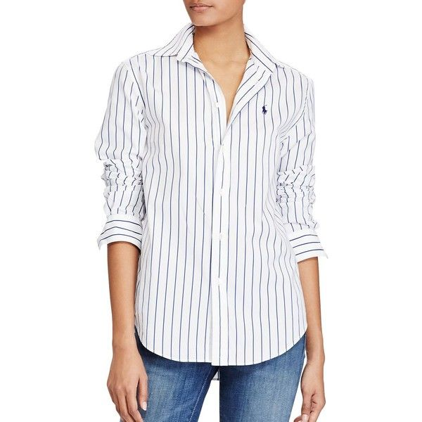 Polo Ralph Lauren Women's Striped Cotton Shirt ($75) ❤ liked on Polyvore featuring tops, white blue, blue and white polo shirt, polo ralph lauren shirts, blue and white stripe shirt, striped long sleeve top and long sleeve shirts