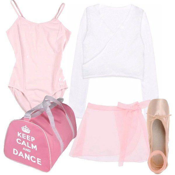 Per le giovani ballerine un'idea per un abbigliamento specifico per la danza, body e gonnellino rosa, coprispalle bianco, scarpette da punta, borsone sportivo.