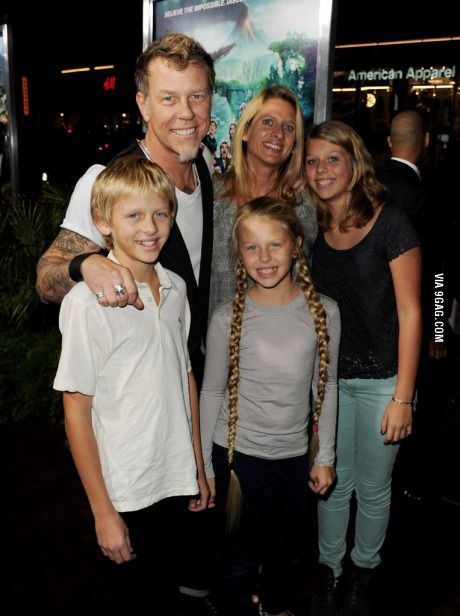James Hetfield with his wife and kids.