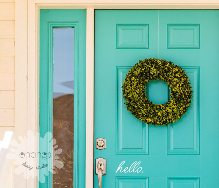 Hello Front Door Decal / Hello Sticker / Custom Letters Decal / gift by OhongsDesignStudio on Etsy https://www.etsy.com/ca/listing/226895671/hello-front-door-decal-hello-sticker