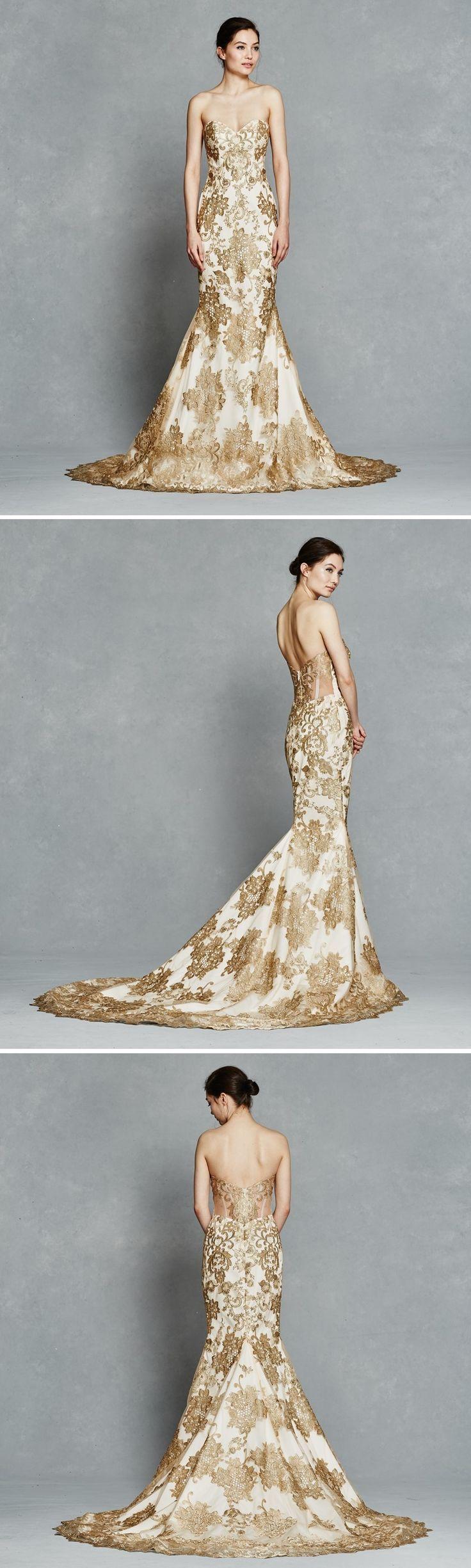 Beautiful Stunning Gold Lace Wedding Dress Gwendelyn by Kelly Faetanini