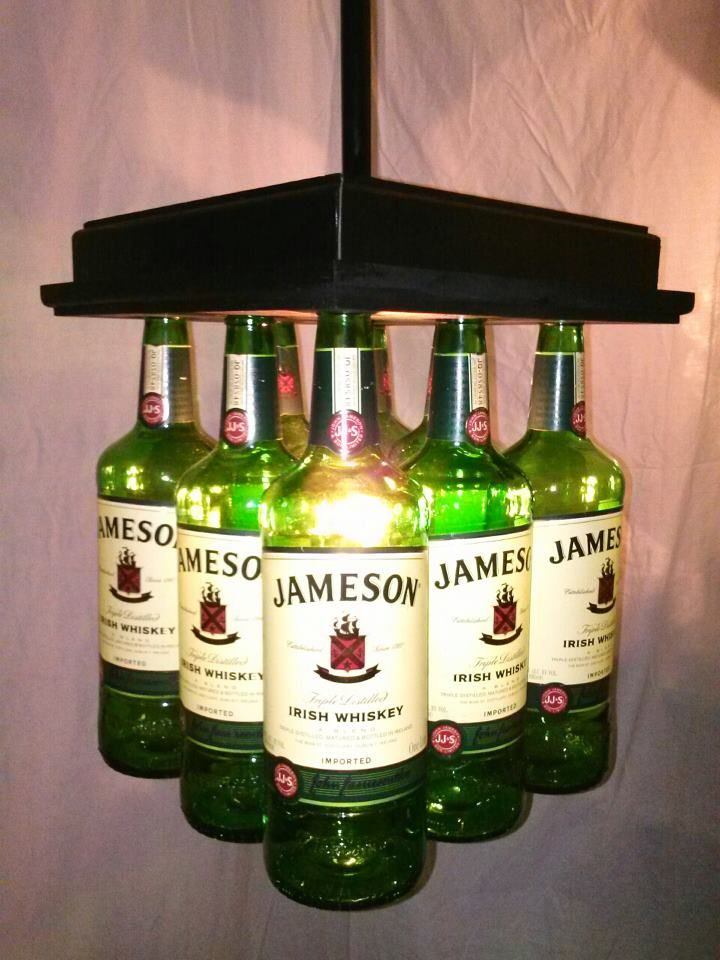 Jameson Wiskey Bar light / Table Chandelier       Looking for Lighting that looks more like art?  Do you own a Bar? Need lights that will make them talk about your Pub above all the others?  Be Unique and Make them Remember you with your Glass Bottle Lighting from Bottle Heaven!
