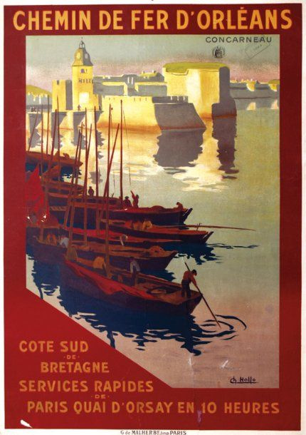 """chemins de fer d'orléans - Concarneau - Côte Sud de Bretagne. illustration de Charles Hallo dit """"alo"""" - France -"""