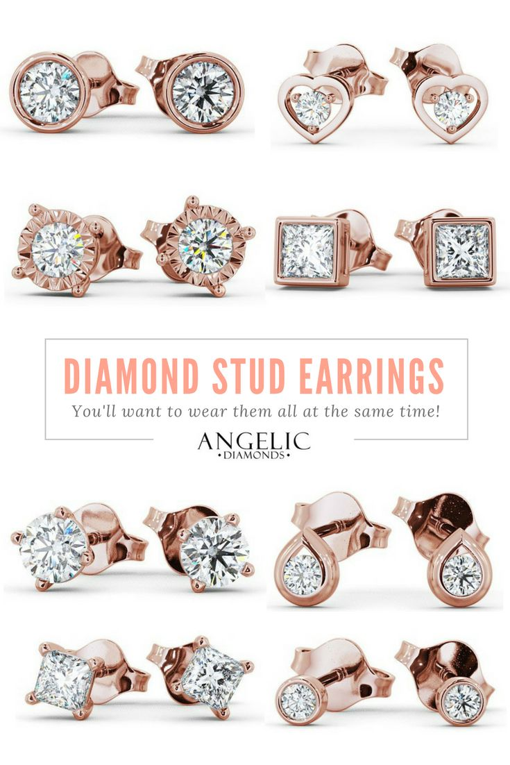 These diamond stud earrings are simple and classy enough to wear every day, but beautiful and special enough to wear on your wedding day! Find your perfect set at#AngelicDiamonds!#Diamond#Diamonds#DiamondEarrings#DiamondJewellery#DiamondJewellery#Earrings#StudEarrings#Wedding#WeddingJewellery#WeddingJewelry #RoseGold #RoseGoldEarrings