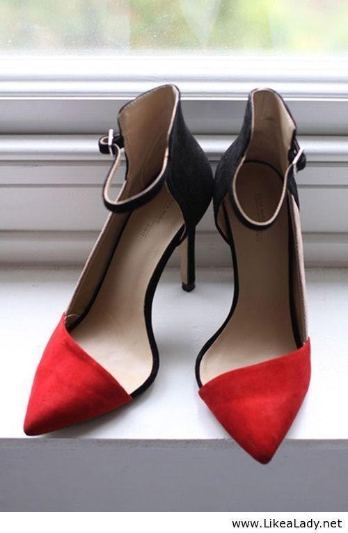 Asymmetric red pointy heel