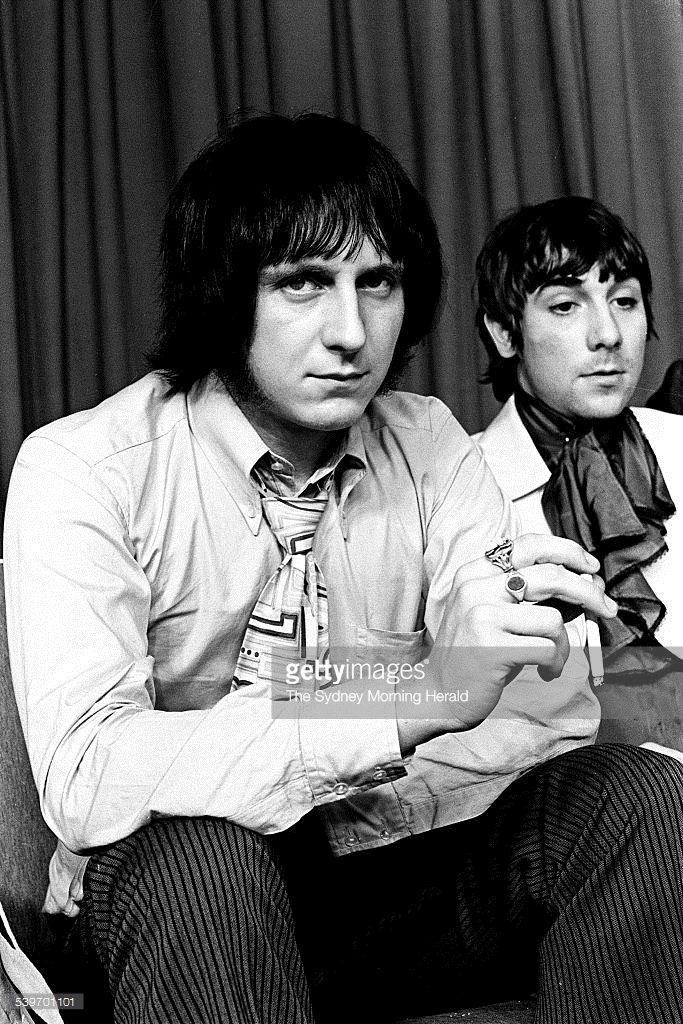 Bass player John Entwistle (left) and drummer Keith Moon (right), of British rock group The Who, at Sydney Airport after arriving in Australia for a concert tour, 19 January 1968. Neg Ref: a/b715/55 SMH Photo by TREVOR DALLE…