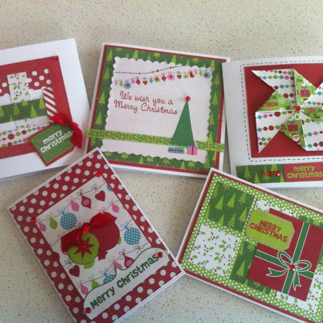 Christmas cards using the New Kaisercraft Mint Twist collection 2012