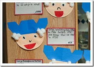 Writing one fact and one question about George Washington.  Cute craftivity to go with it!  Thanks First Grade Parade!!