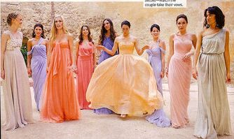 The many beautiful pastel designer dresses of the bridesmaids at socialites Lauren Santo Domingo and Andres Santo Domingo 's wedding #wedding