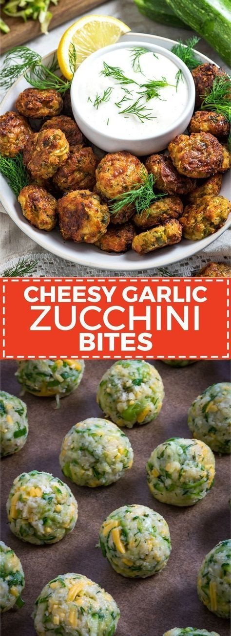 Cheesy Garlic Zucchini Bites. These are easy to make, super flavorful, and baked so they're much healthier than fritters! Serve 'em as snacks, appetizers, or even a side dish!   hostthetoast.com