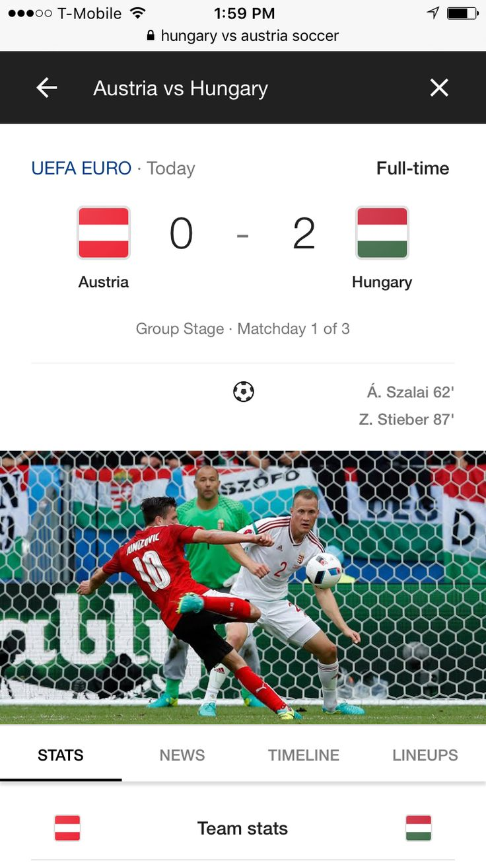 UEFA Euro 2016 France: Austria vs Hungary 0-2