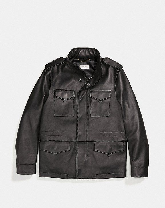 Coach Burnished Leather M65 Jacket Alternate View 1