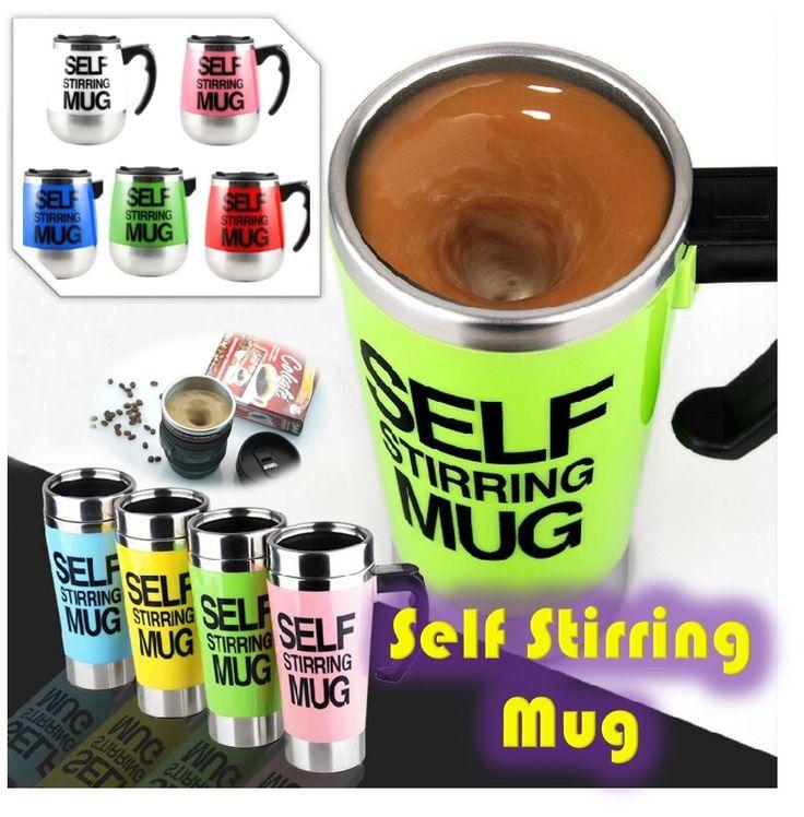 [S$3.90][NEWEST DESIGN!] SELF STIRRING MUG Coffee Cup British Bluw Automatic Mixing Cup* Office Essential Household Mug* Camera Lens Self Stir Mug* Self Stir Tumbler 500ML - As Seen on TV [TVADS TV-ADS]