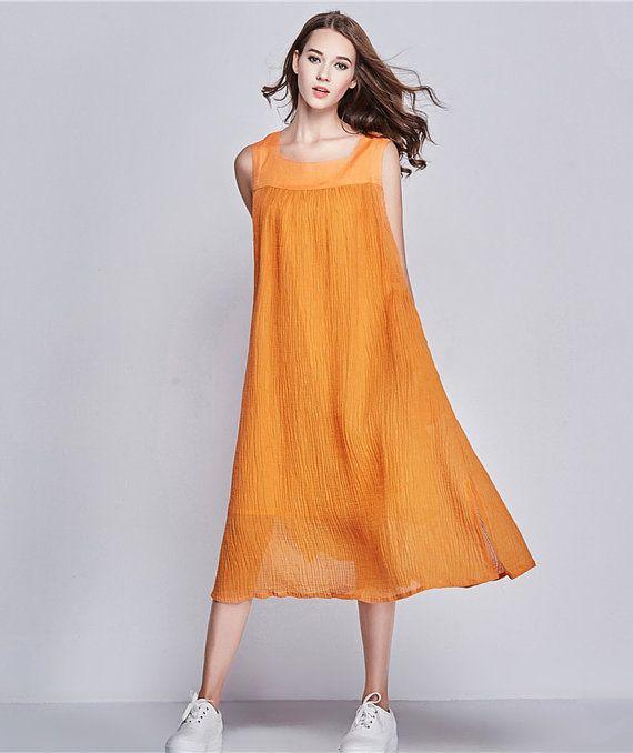Orange Beach Dress, Long Linen Dress, Long Loose Sundress, Ruffle Dress, Shift Dress