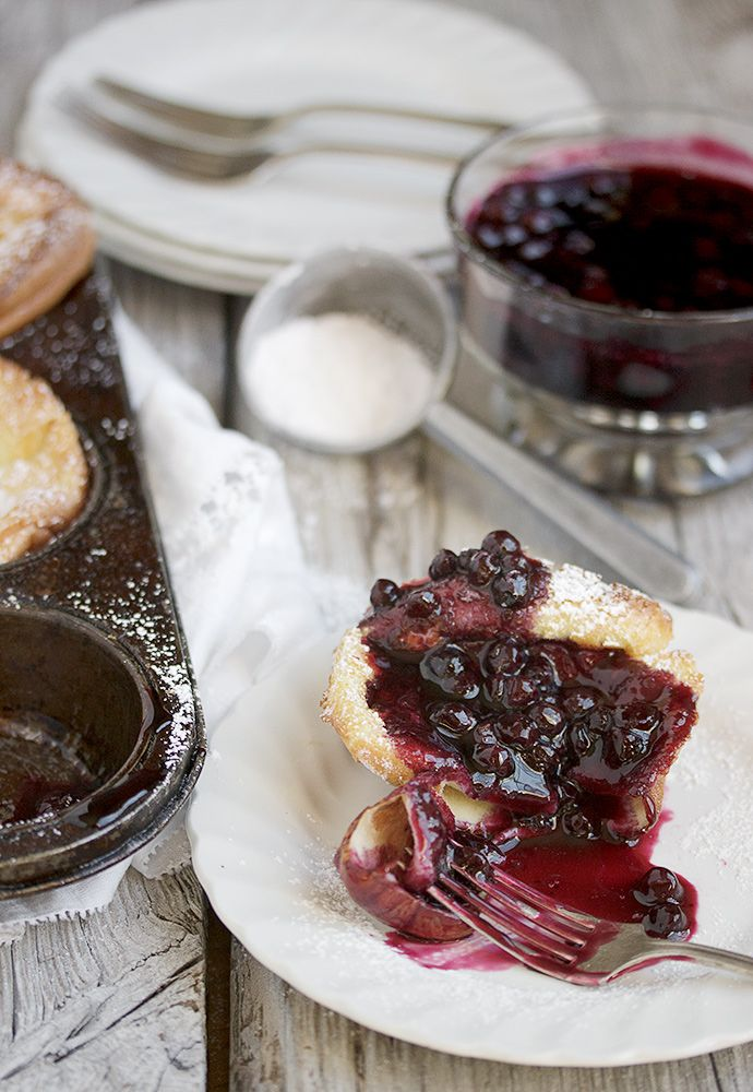 Mini Dutch Pancakes with Warm Blueberry Sauce - perfect weekend food!