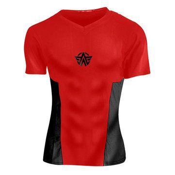 Mens Tight Outdoor Traning Sport T-shirt Breathable Wicking Summer Running Quick-drying Sportwear at Banggood