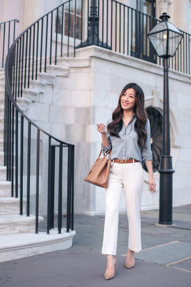 how to style a chambray denim shirt + white pants // petite fashion blog