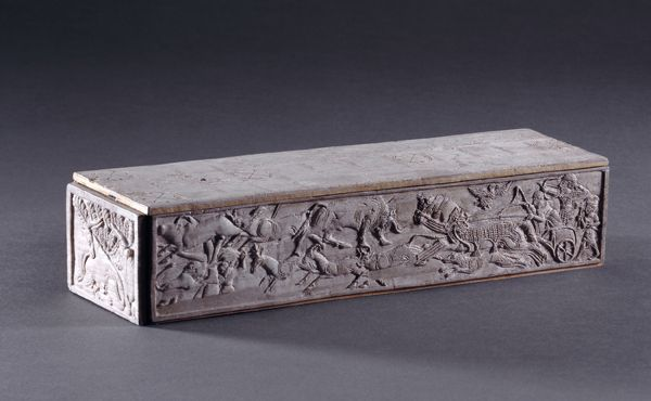 Game box with chariot hunt. Enkomi, Cyprus. ca. 1250-1100 B.C. The Trustees of the British Museum