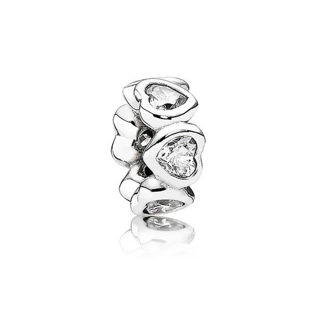 Pandora Birthstone Charms Space In My Heart with Clear CZ Spacer