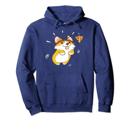 Corgi Running Pizza Lover Funny Dog Pizza Gifts Pullover Hoodie
