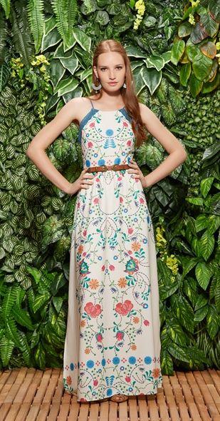 Vestido Longo Mangue Baunilha // Mangrove maxi dress in vanilla // Bright floral folk patterns | Antix