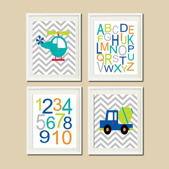 Construction Truck Helicopter Chevron Nursery by LovelyFaceDesigns,
