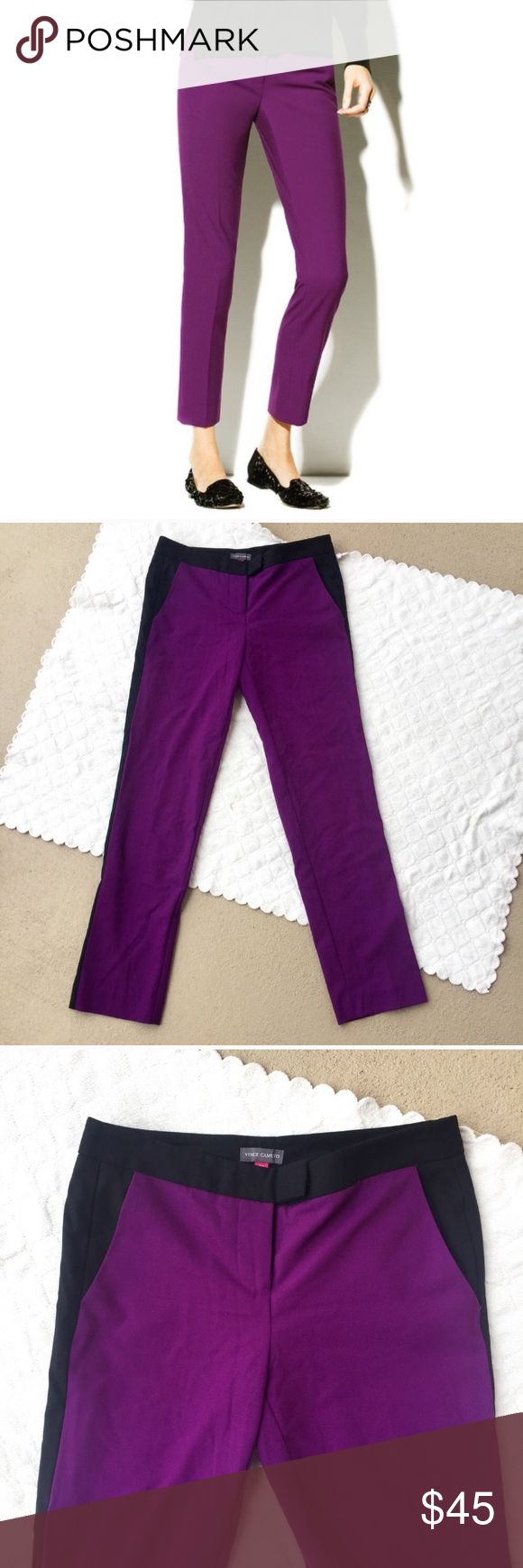 """4P / Vince Camuto purple ankle skinny pants Vince Camuto purple skinny ankle dress pants. Black trim down the sides for a bold, contrast look. Hook & button closure. Front pockets & back faux pockets.   SIZE: 4P outseam: 36"""" inseam: 28"""" waist: 14"""" rise: 8.5""""  ❌ no trades ✔️offers welcome! ❣️add to bundle for **discounted** shipping offer! Vince Camuto Pants Ankle & Cropped"""