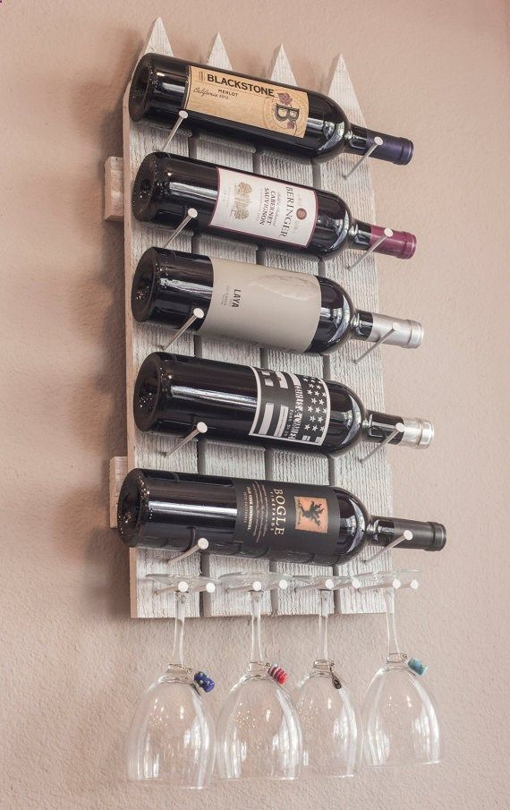 wooden wall mounted wine rack made to resemble a picket fence carefully hand crafted in the usa wine storage for 5 bottles and 4 glasses