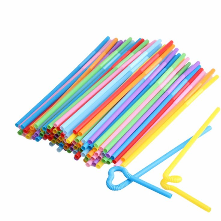 Flexible-Plastic-Bendy-Mixed-Colours-Party-Disposable-Drinking-Straws