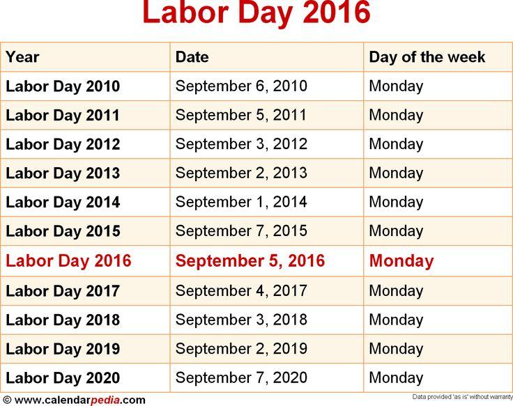 September 2016 Calendar Labor Day
