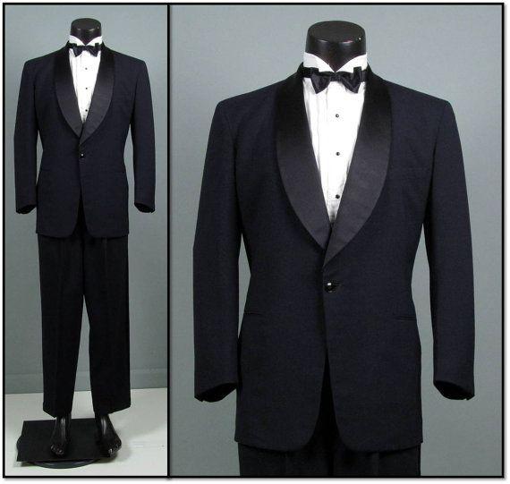Vintage Tuxedo Mens 1950s MIDNIGHT BLUE Shawl Collar Lightweight Two 2 Piece Mens Vintage Tuxedo 44 Chest