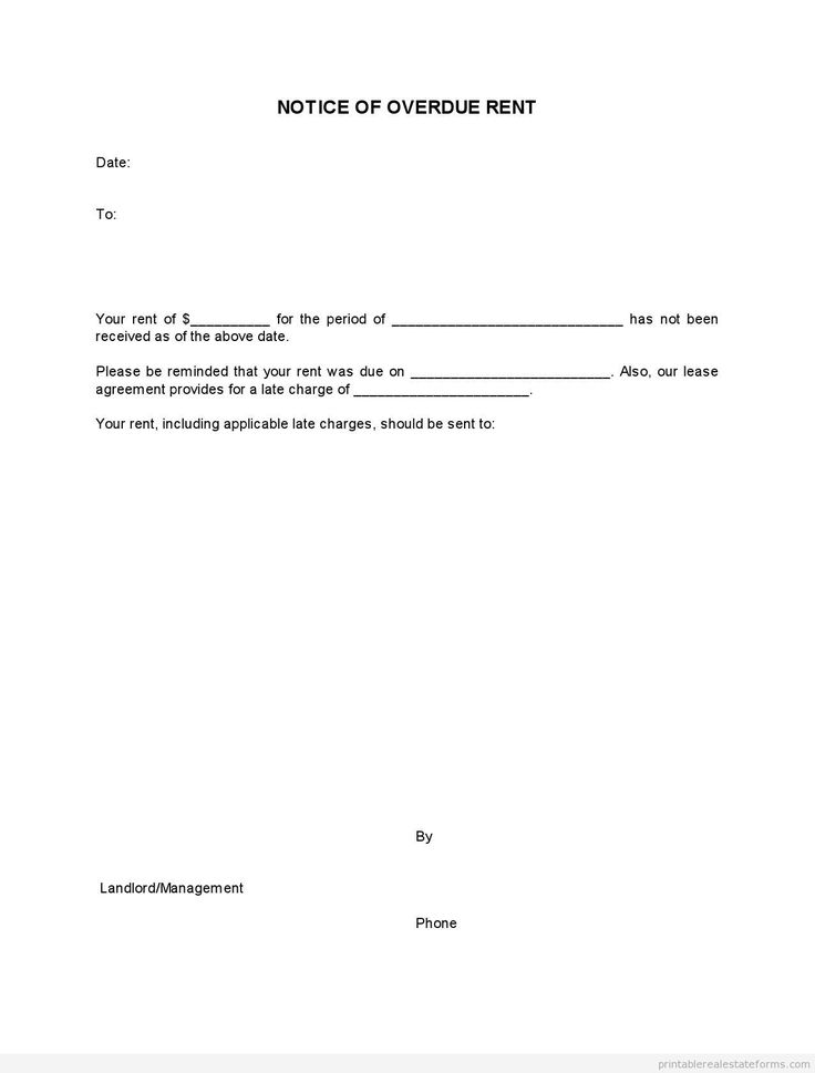 Free Notice Of Overdue Rent Form Printable Real Estate Forms Late Rent Notice Lettering Real Estate Forms