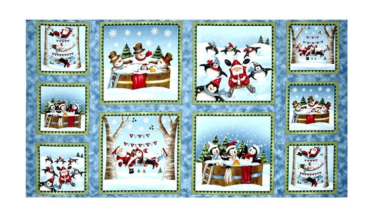 "Just Chillin' Just Chillin' Picture Patches 24"" Panel Blue from @fabricdotcom  Designed by Emma Leach of Portfolio Select for Quilting Treasures, this cotton print panel features squares of snowmen and penguins having a good time! It measures approximately 24"" x 44"" and is perfect for quilting, apparel and home decor accents. Colors include black, white, shades of brown and blue, red, pink, green, light green, orange, golden orange, yellow and pale yellow."