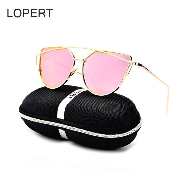 LOPERT Women Cat Eye Polarized Sunglasses Classic Brand Designer Twin-Beams Rose Gold Frame Mirror Sun Glasses Lady Eyewear