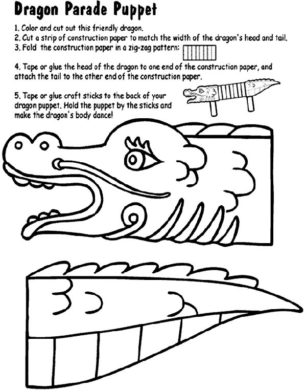 dragon parade puppet coloring page for the kiddo s pinterest