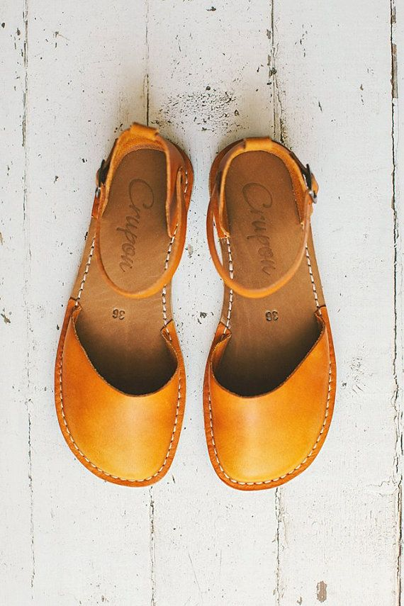 sale 20%: Yellow Women Leather Sandals. Handmade Sandals by Crupon
