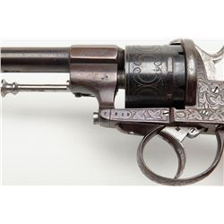 """Double action pinfire revolver marked """"E. Lefaucheux, Brevet"""" engraved on the frame, checkered wo"""