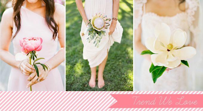 Single bloom bouquets - bridesmaids?Beautiful Flower, Bridesmaid Flower, Bridesmaid Single Flower, Wedding Bouquets, Single Flower Bouquets, Flower Ideas, Bloom Bouquets, Single Bloom, Beautiful Single