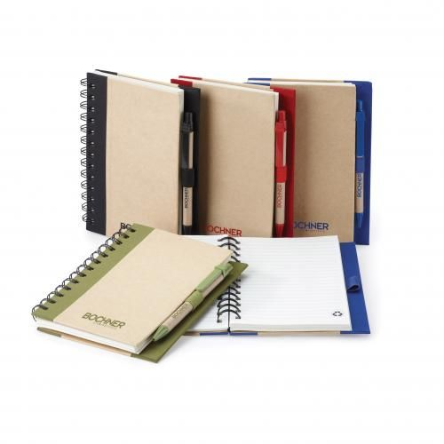 Tristan notebook combo includes non-refillable hard cover notebook made with 72% recycled paper and a paper pen made with 80% recycled materials and trim made with 50% biodegradable materials